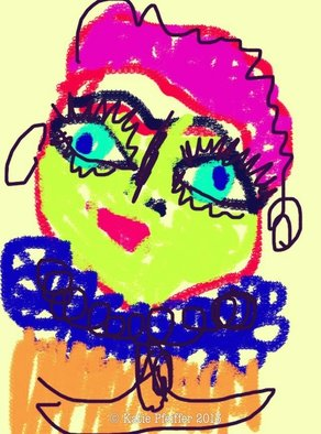 Katie Pfeiffer Artwork Pink Haired Doodle Lady, 2013 Computer Art, Outsider
