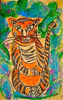 Animals Acrylic Painting by Katie Pfeiffer Title: Tiger, created in 2011