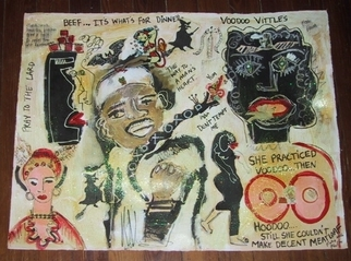 Collage by Katie Pfeiffer titled: VOODOO VITTLES, 2006