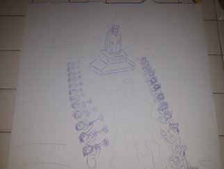 Michael Jenkins: 'vision', 2020 Pencil Drawing, Representational. Fast sketch of A vision of The Throne of Jesus...