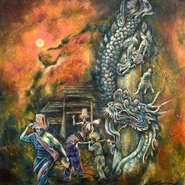 Jian Yu Jhuang: 'dragon pillar', 2020 Oil Painting, Mystical. Artist Description: Dragon Pillar...