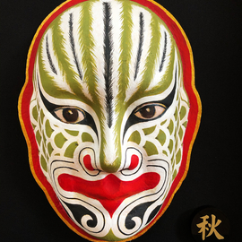 Jian Yu Jhuang: 'exorcism mask', 2014 Oil Painting, Mask. Artist Description: A totem of the face is dapeng bird .His mission is able to get rid of evil.The mask is the symbol of good luck.He is guarding a forever home for people. ...
