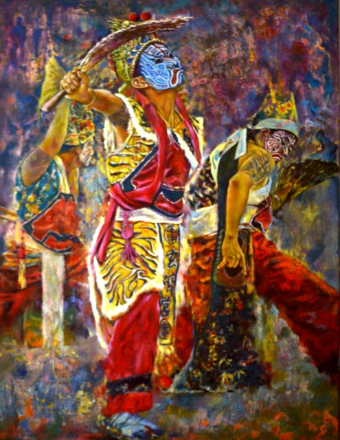 Jian Yu Jhuang  'Taiwan Exorcism Dance', created in 2019, Original Painting Oil.