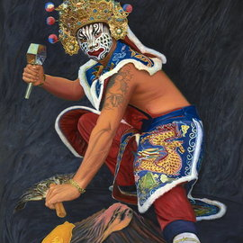 Jian Yu Jhuang: 'taiwan ghost rider2', 2018 Oil Painting, Ethnic. Artist Description: Taiwan Ghost Rider- summon water elementalBe yourself, don t change for anyone.It is my patron saint, for I am guarding a forever home.I had to do it all on my own.Holding a hammer in my handI have unlimited powerI have peace and ...
