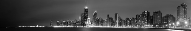 David Pierson  'Chicago Skyline At Night One', created in 2012, Original Photography Black and White.