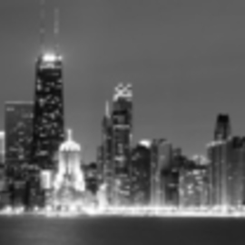 David Pierson: 'Chicago Skyline At Night One', 2012 Black and White Photograph, Scenic. Artist Description:  chicago skyline pictures, picture chicago skyline, picture of the chicago skyline, chicago skyline photo, chicago photo, pictures of chicago, photos of chicago, the mid chicago photos, chicago photographs, chicago pictures, chicago, skyline photos,	city skyline, black and white skyline, skyline prints, ...
