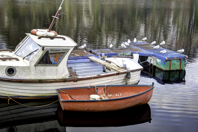David Pierson  'Fishing Boats In Donegal Two', created in 2012, Original Photography Black and White.