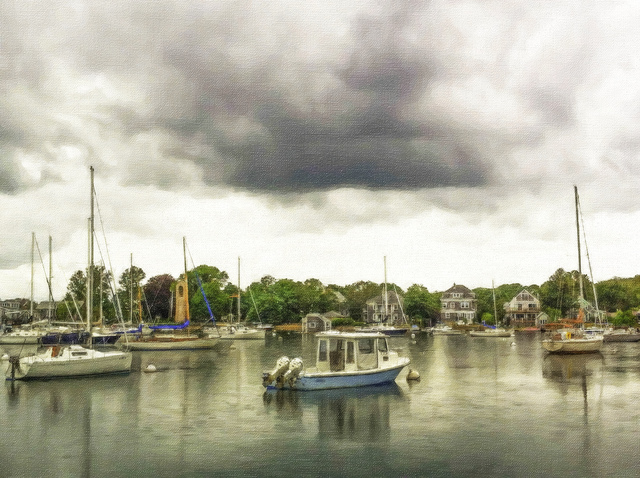 David Pierson  'Storm Over Boothbay Harbor', created in 2012, Original Photography Black and White.