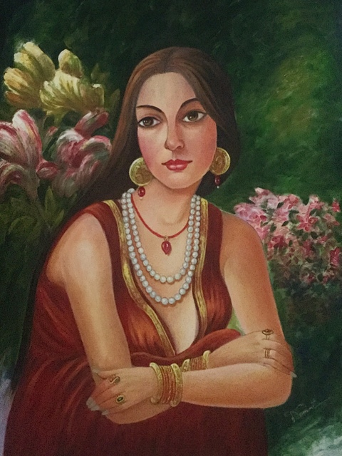 Damini Grover  'Lady In Thought', created in 2017, Original Painting Oil.