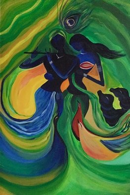 Damini Grover: 'radha krishna', 2018 Acrylic Painting, Hindu. Artist Description: Lord Krishna and Radha, epitome of love in Hindu religion, the stories of their romance are told till date. ...