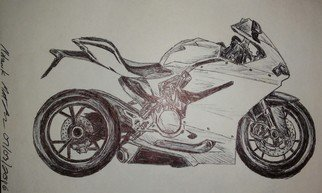 Matthew Lannholm: 'if you like to go fast', 2016 Pen Drawing, Motorcycle. Artist Description: highest horse power to weight ratio on the planet. freehand in pen...
