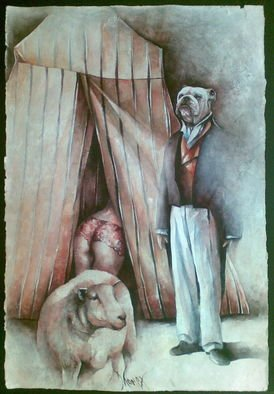 Dana Tomsa Oberhoffer: 'The sheep and guard dogs are doing everthing to protect their status quo', 2010 Mixed Media, Satire. Artist Description:  mixed media / cardboard handmade cottonLe pecore e i cani da guardia fanno di tutto per proteggere il loro status quo.   ...