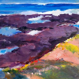 Daniel Clarke: 'Cambria Coastline no 2', 2009 Acrylic Painting, Landscape. Artist Description:  Cambria Coastline no 2 is part of the Artist's California Coastline series of paintings. ...