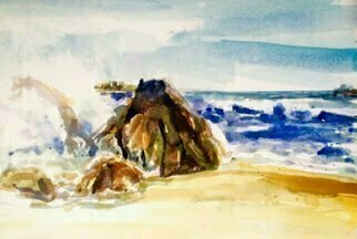 Artist: Daniel Clarke - Title: Morro Bay Rock Surf - Medium: Watercolor - Year: 2015