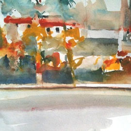 Daniel Clarke Artwork Santa Barbara Real Estate, 2012 Watercolor, Landscape