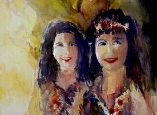 Daniel Clarke: 'Two Lovely Ladies', 2015 Watercolor, Urban. Artist Description:  Two Lovely Ladies watercolor portrait mother daughter lovely ...