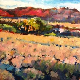 Daniel Clarke: 'after the spring rain', 2017 Acrylic Painting, Landscape. Artist Description: After a cool spring rain near Palm Springs the California landscape looks so inviting full of flowers desert joy and impressionism blissfulness...
