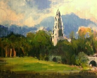 Daniel Clarke Artwork california tower balboa park, 2017 Acrylic Painting, Landscape