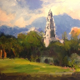 Daniel Clarke: 'california tower balboa park', 2017 Acrylic Painting, Landscape. Artist Description: California Tower in Balboa Park on a gorgeous sunny afternoon.  This is one of the more spectacular scenes in the Park.  Very inspired to do this one   Acrylic on board...