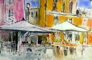 Daniel Clarke: 'caravaggio street scene 2018', 2018 Watercolor, Landscape. Artist Description: Caravaggio  Bergamasque: CareA s  is a town and comune in the province of Bergamo, in Lombardy, Italy, 40 kilometres  25 mi  east of Milan.Many street scenes await us but this one is most impressive Watercolor on paper...
