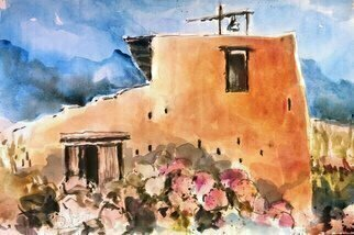 Daniel Clarke: 'che pueblo adobe', 2017 Watercolor, Landscape. Artist Description: Che Pueblo Desertacross the Southwest region we drive down the highway in the distance ahead we see the road fork left towards the Pueblo we desire. ...