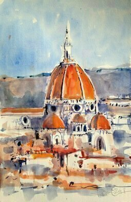 Daniel Clarke: 'duomo firenze', 2018 Watercolor, Landscape. Artist Description: Il Duomo di Firenze, as it is ordinarily called, was begun in 1296 in the Gothic style with the design of Arnolfo di Cambio and completed structurally in 1436 with the dome engineered by Filippo Brunelleschi. 1  The exterior of the basilica is faced with polychrome marble panels ...