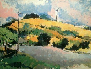Daniel Clarke: 'eagle rock hillside', 2019 Acrylic Painting, Landscape. I can imagine someone who foundthese fields unbearable, who climbedthe hillside in the heat, cursing the dust,cracking the brittle weeds underfoot,wishing a few more trees for shade.An Easterner especially, who would scornthe meagerness of summer, the drytwisted shapes of black elm,scrub oak, ...