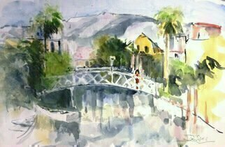 Daniel Clarke: 'gazing into the venice canal', 2018 Watercolor, Landscape. Artist Description: Painting: Watercolor on Paper.The Venice Canal Historic District is a district in the Venice section of Los Angeles, California. The district is noteworthy for its man- made canals built in 1905 by developer Abbot Kinney as part of his Venice of America plan. Kinney sought to recreate ...