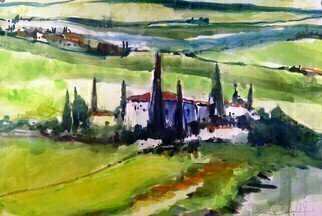Daniel Clarke: 'green tuscany', 2019 Watercolor, Landscape. Artist Description: I walked from the big house to the villasIn the cool of the late Tuscan nightI smelt wheat grass and orange blossomI heard owls and night birdsAnd rustling in the grassI saw twinkling lights on distant hillsI felt a thousand years press ...