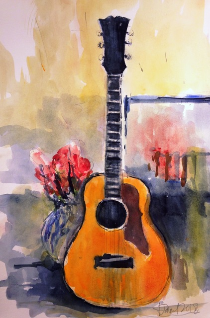 Daniel Clarke: guitar, 2018 Watercolor