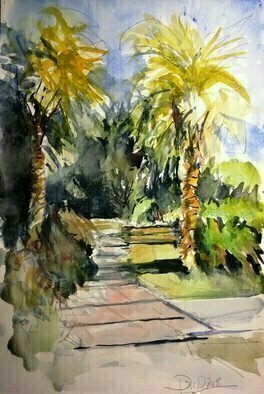 Daniel Clarke: 'huntington back walk', 2018 Watercolor, Landscape. Artist Description: As I walk the shadowed lane,In Huntington back walk travels,The Sun kisses the morning sky,And all will be schooled on the way,To nature s being on high,Lovely will the agents of color,Grasp my sinful ways...
