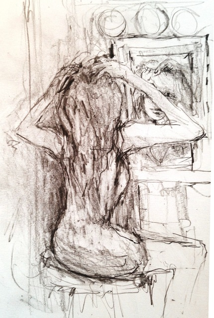 Daniel Clarke  'In Front Of The Mirror', created in 2017, Original Drawing Graphite.