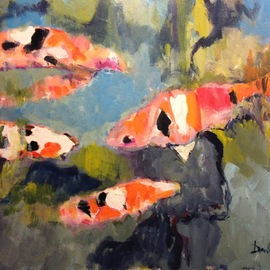 Daniel Clarke: 'landscape no 57 koi', 2017 Acrylic Painting, Landscape. Artist Description: Landscape no 57  Koi  from the Descanso Gardens California  Acrylic on board...