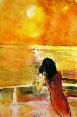 Daniel Clarke: 'leaving china', 2018 Watercolor, Landscape. Artist Description: Our Lady in Red emigrating from the Motherland. . . . . . . . . . . . . . . . . . . . . . the seas shine orange and a new country appears in sight ...