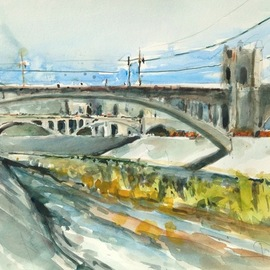 Daniel Clarke - los angeles river scene, Original Watercolor