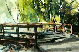 Daniel Clarke: 'malibu trail bridge', 2020 Watercolor, Landscape. I m stuck in ArizonaAll the leaves are brown, California dreaming, Malibu back woods trail with an amazing bridge I lie about being in lovewith that Arizona sunTake me down to Paradise CityIn the warm California sunWhere the grass is greenWhere they re out ...