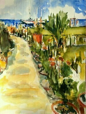 Daniel Clarke: 'malibu vista no 2', 2017 Watercolor, Landscape. Artist Description: Malibu Vista no 2 a path to the ocean surrounded by flowers bucolic growth ocean clear air California plein air dreaming ...