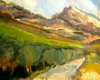 Daniel Clarke: 'mt baldy backside', 2017 Acrylic Painting, Landscape. Artist Description: Heading up the old trail by the winter stream towards the backside of Mt. Baldy circa 1885. Those were the days of California Dreaming  Acrylic on board...