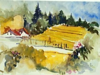 Daniel Clarke: 'napa vista no 23', 2017 Watercolor, Landscape. Artist Description: Napa vista no 23 Northern California wine making country watercolor vivid landscape sunny afternoon LOVE to all...
