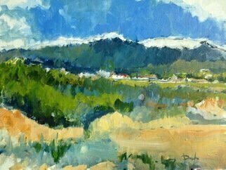 Daniel Clarke: 'near redlands ca', 2018 Acrylic Painting, Landscape. Artist Description: Near Redlands California the winter snow glistens on the mountaintops as we gaze into this Vista of lovely bucolic memories.Acrylic on canvas board. ...