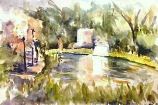 Daniel Clarke: 'norton simon gardens', 2017 Watercolor, Landscape. Artist Description: Norton Simon Museum Gardens on a Sunday afternoon.   The bright sun reflects off the water down the sunny path towards the museum ...