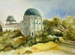 Daniel Clarke: 'observatory trail view', 2017 Watercolor, Landscape. Griffith Park Observatory viewed from one of many trails crisscrossing the park.  Watercolor on paper...