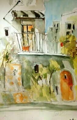Daniel Clarke: 'parisian courtyard', 2017 Watercolor, Landscape. Artist Description: Parisian Courtyard Early Evening the light pushes out of the windows as the evening light presses in.  A back quarter in Paris passing by through the City of Lights...