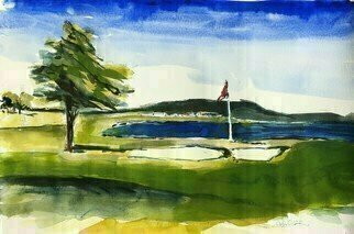 Daniel Clarke: 'pebble beach 18th hole', 2020 Watercolor, Landscape. Combine a dramatic coastline and mystical forest with a rich history of world- class accommodations, warm hospitality, expert service and grand recreation. aEUR| ItaEURtms no wonder Pebble Beach Golf Course  has attracted extraordinary visitors throughout the history of Pebble Beach. From Samuel F. B. Morse to Clint Eastwood. Teddy Roosevelt ...