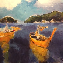 Daniel Clarke: 'phi phi islands south thailand', 2017 Acrylic Painting, Landscape. Artist Description: Phi Phi Islands South Thailand. Acrylic on canvas. South seas islands of mystery for all to see. ...