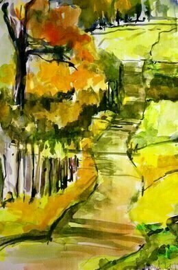 Daniel Clarke: 'road to corvallis', 2018 Watercolor, Landscape. Artist Description: Road to CorvallisAsh and silt, borne on ancient airs,ancient watersaEUR