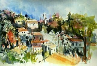 Daniel Clarke: 'romantic glassell park', 2018 Watercolor, Landscape. Artist Description: Romantic Glassell Park invites you to experience urban delight in the City of Angels...
