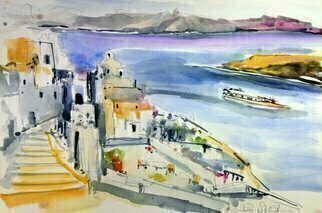 Daniel Clarke: 'santorini greece', 2018 Watercolor, Landscape. Artist Description: Bend if you can to the dark sea forgetting the flute s sound on naked feet that trod your sleep in the other, the sunken life. Write if you can on your last shell the day the place the name and fling it into the sea so that ...