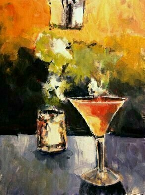 Daniel Clarke: 'saturday night drinks for one', 2017 Acrylic Painting, Still Life. Artist Description: On a Saturday night I sit with my drink for one contemplating the bar and the thoughts for the midnight   Acrylic on board...