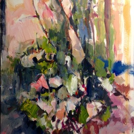 Daniel Clarke: 'still life no 54', 2017 Acrylic Painting, Abstract. Artist Description: Still life no 54 the Artist s back yard flowers and foliage abound in the Southern California garden. ...